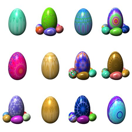 easter eggs isolated on the white photo