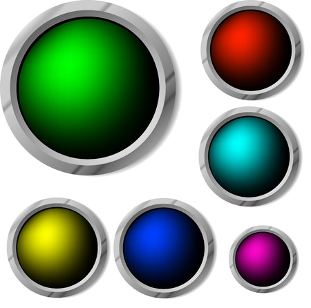 glossy buttons in vector, contains gradient mesh elements Vector