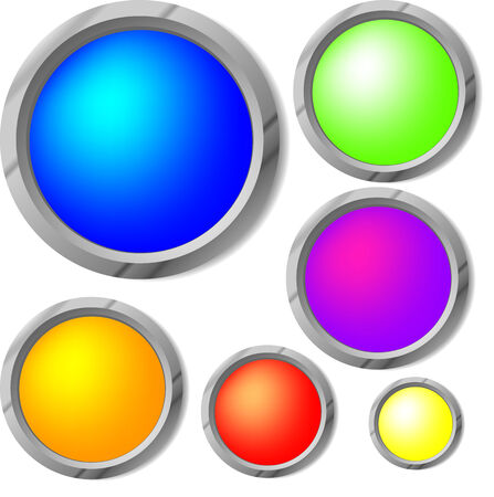 glossy buttons in vector, contains gradient mesh elements Stock Vector - 5355318