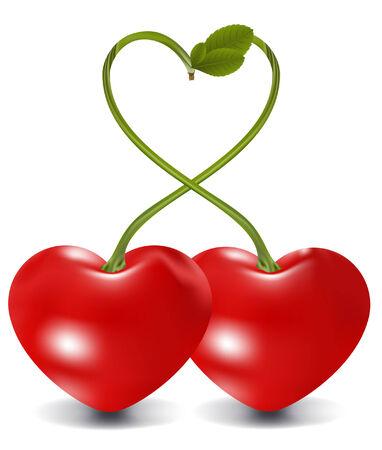 cherry love in vector, contains gradient mesh elements Stock Vector - 5355315