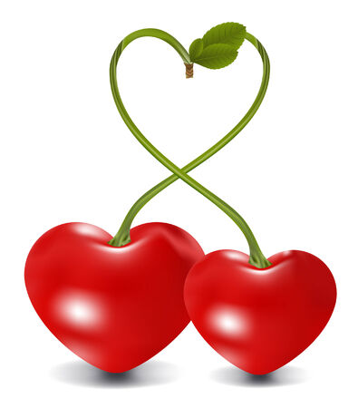 cherry couple in vector, contains gradient mesh elements Stock Vector - 5355314