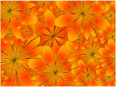 vector, orange floral background