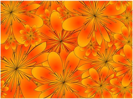 vector, orange floral background Vector