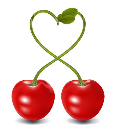 el corazón de cerezo en el vector, contiene elementos de malla de degradado Vectores
