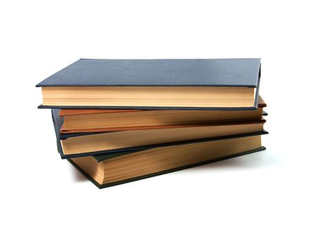 books stack isolated on white photo