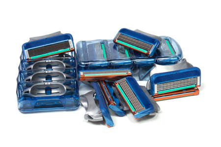 Replacement razor blades isolated on white photo