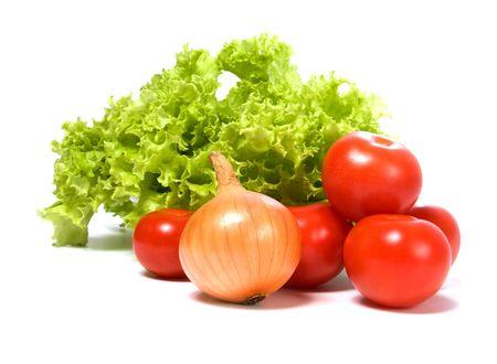 Sla salade en fruit geïsoleerd op witte achtergrond Stockfoto