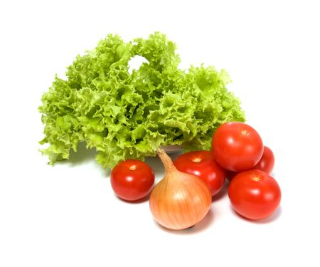 Lettuce salad and vegetables isolated on white background Stock Photo - 5866089