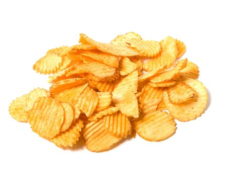 crisps: Potato chips isolated on white background Stock Photo