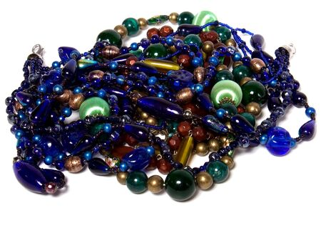 colorful beads isolated on white background photo
