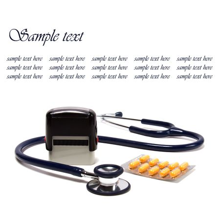stethoscope and doctor seal isolated on white background Stock Photo - 5927450