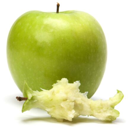 core of an apple isolated white background photo
