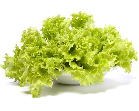 leafy: Lettuce salad isolated on white background Stock Photo