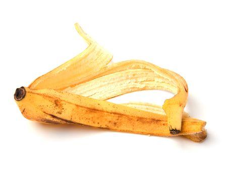 banana peel isolated on white background photo