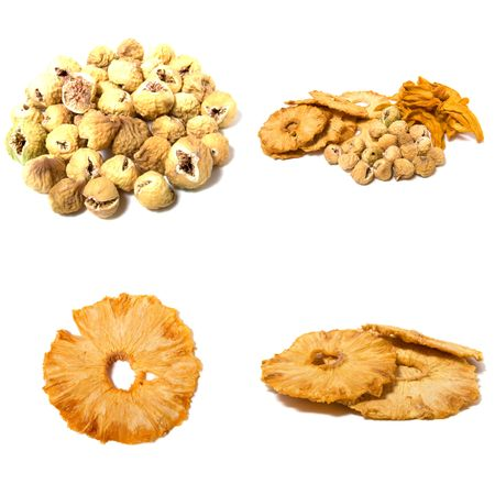 dried fruits assortment isolated on white background photo