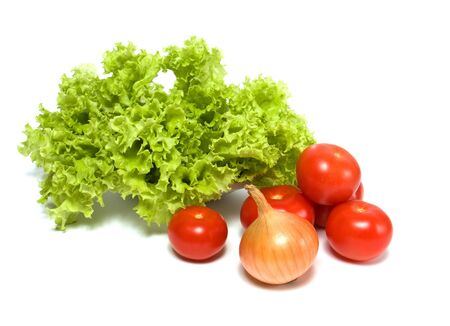 Lettuce salad and vegetables isolated on white background Stock Photo - 5982640