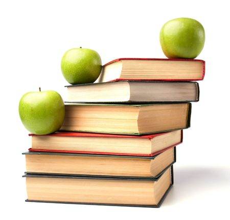 book stack with apple isolated on white background Stock Photo - 5982645