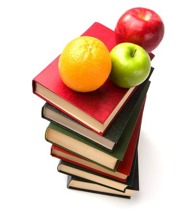 book stack with fruits isolated on white background Stock Photo - 6007724