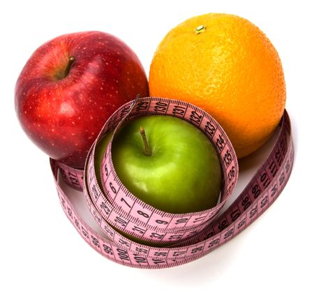 tape measure wrapped around fruits isolated on white background photo