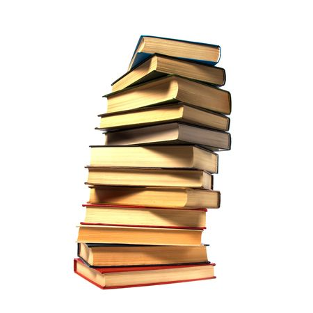 threadbare: book stack isolated on the white