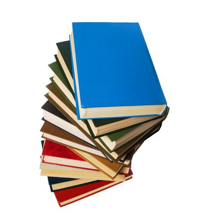 book stack isolated on the white photo