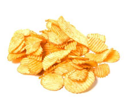 Potato chips isolated on white background photo