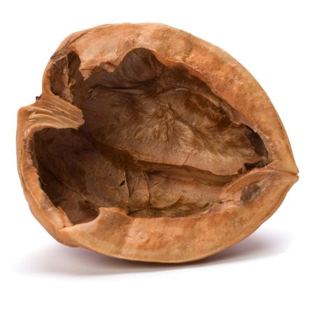 Walnut: empty walnut shell isolated on white background