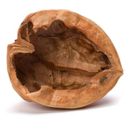empty walnut shell isolated on white background