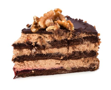 chocolate mousse: Slice of chocolate cream cake isolated on white
