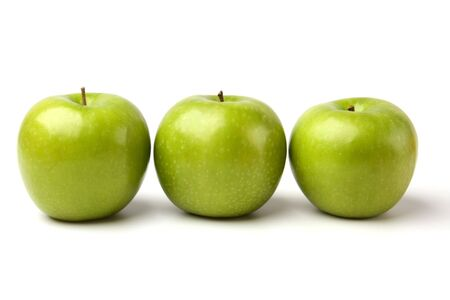 green apples isolated on white background photo
