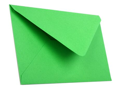 green envelope isolated on white background photo