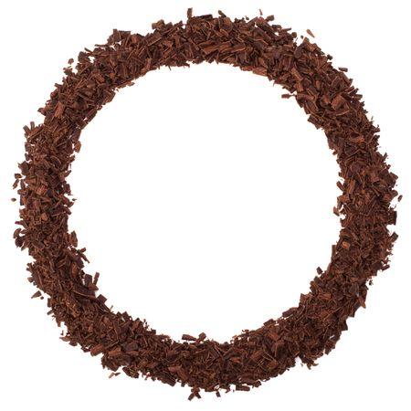 chocolate frame isolated on white background photo