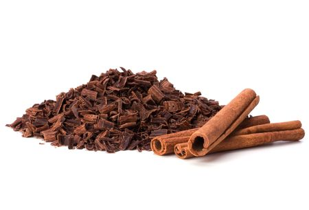 grated chocolate and cinnamon isolated on white background Stock Photo - 6258809