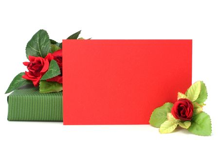 Gift with floral decor. Flowers are artificial. photo