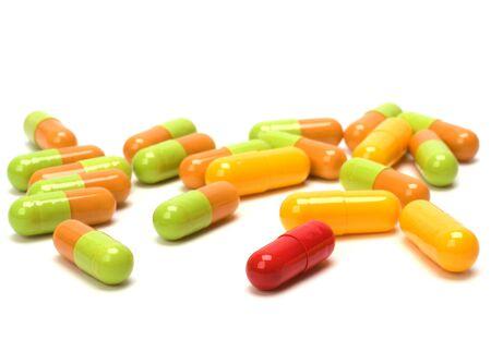 Capsules isolated on white background photo