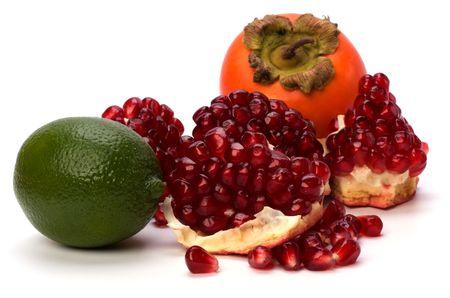 tropical fruits isolated on white background Stock Photo