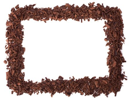chocolate chips: chocolate frame isolated on white background Stock Photo