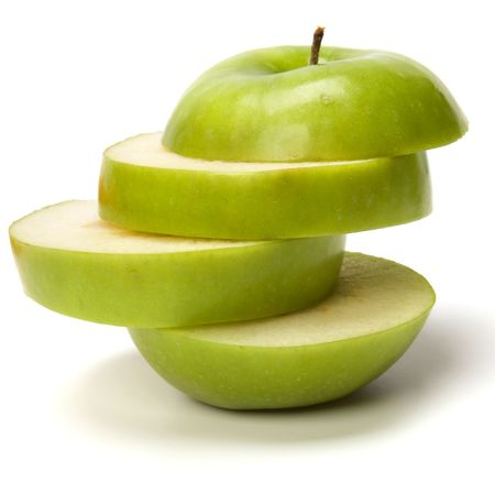 pomme: apple tranch� isol� sur fond blanc Banque d'images