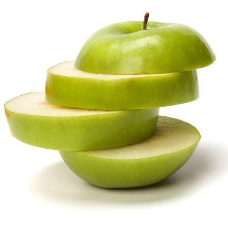 segment: mela affettata isolato su sfondo bianco  Archivio Fotografico