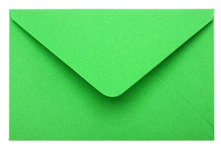 envelope with letter: busta verde isolato su sfondo bianco