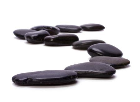 black pebbles isolated on white background