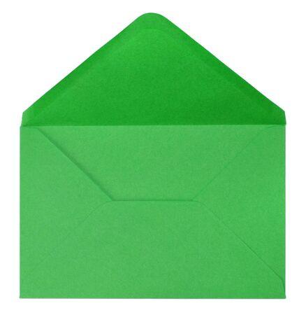 sobres para carta: envoltura verde aislado sobre fondo blanco
