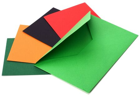 sealable: green envelope with cards isolated on white background Stock Photo