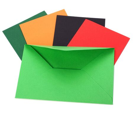 green envelope with cards isolated on white background Stock Photo - 6341628