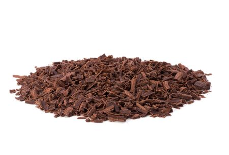 grated chocolate isolated on white background photo