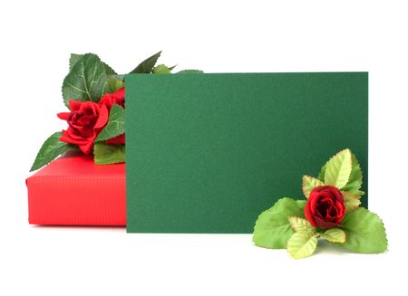 Gift with floral decor. Flowers are artificial. Stock Photo - 6341607