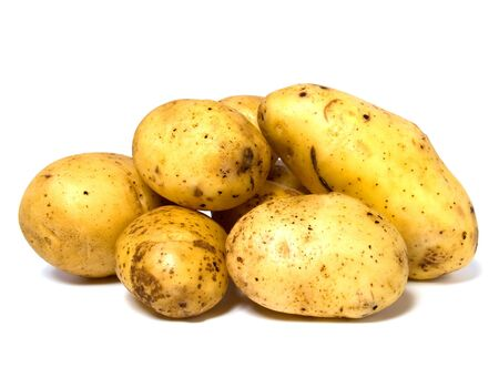 spud: potatoes isolated on white background Stock Photo