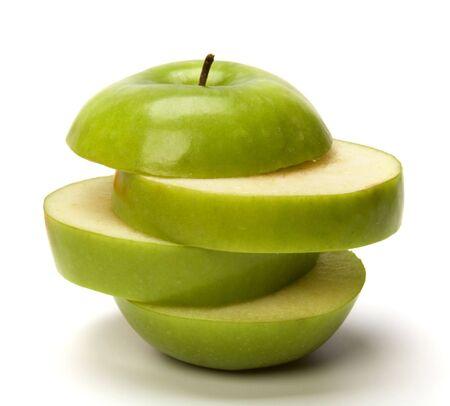 sliced apple isolated on white background photo