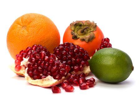 tropical fruits isolated on white background Stock Photo - 6491744