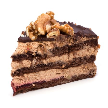 Slice of chocolate cream cake isolated on white photo